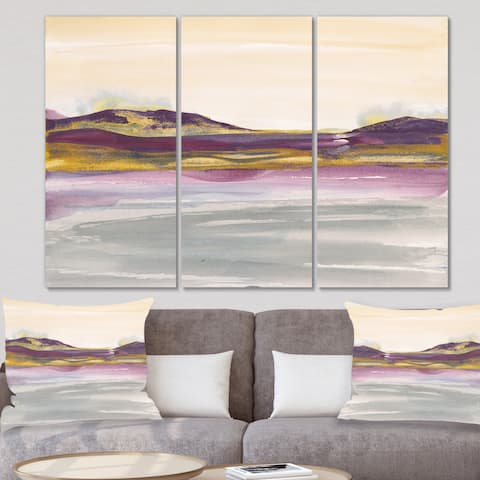 Designart 'Painted Purple and Gold Landscape II' Shabby Chic Canvas Artwork