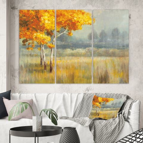 Designart 'Autumn Landscape' Farmhouse Canvas Wall Art