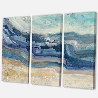 Designart 'Coast Blue Sea Waves Watercolour' Modern Farmhouse Canvas Art