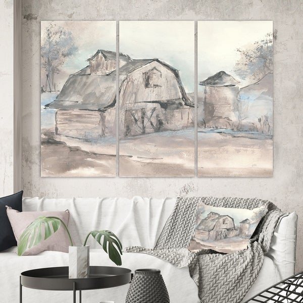 Designart 'Farmhouse Barn Grey V' Modern Farmhouse Canvas Art
