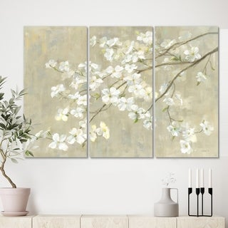 Designart 'Dogwood in Spring Neutral' Farmhouse Canvas Artwork