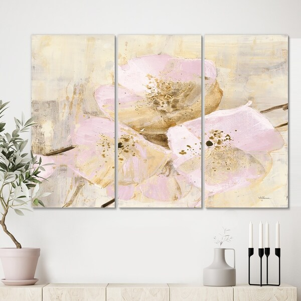 Designart 'Elegance III Pink' Shabby Chic Gallery-wrapped Canvas