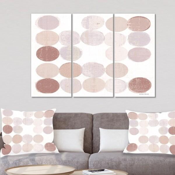 Designart 'Shade of Pink Geometric Dots II' Abstract Canvas Artwork