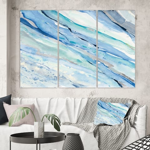 Designart 'Blue Silver Spring I' Modern Lake House Canvas Artwork