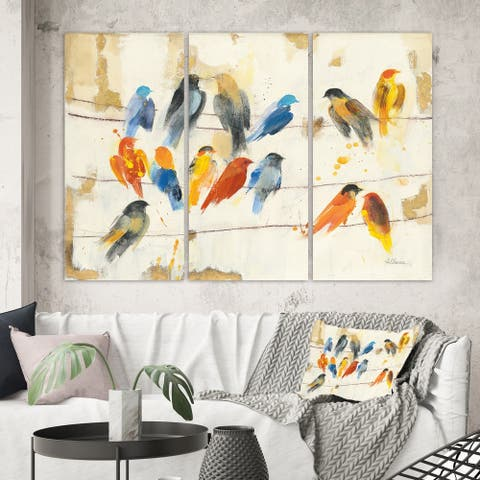 Designart 'Multicolor Bird Meeting' Traditional Animal Canvas Wall Art