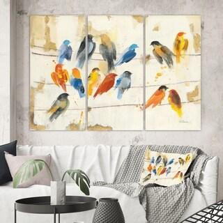 Designart 'Multicolor Bird Meeting' Traditional Animal Canvas Wall Art