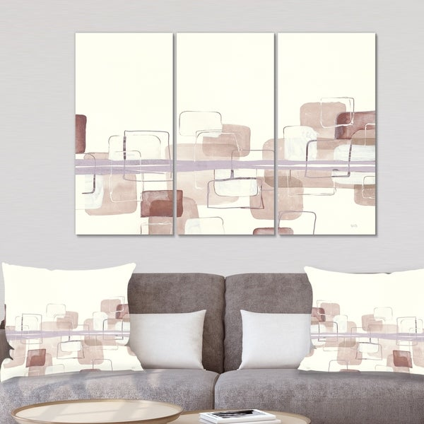 Designart 'Watercolor Minimal Boxes II' Modern Gallery-wrapped Canvas
