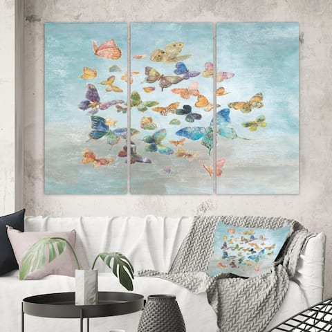Designart 'Butterflies Dancing I' Wildlife Canvas Artwork