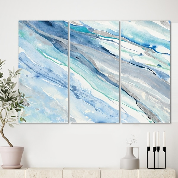 Designart 'Blue Silver Spring II' Modern Lake House Gallery-wrapped Canvas