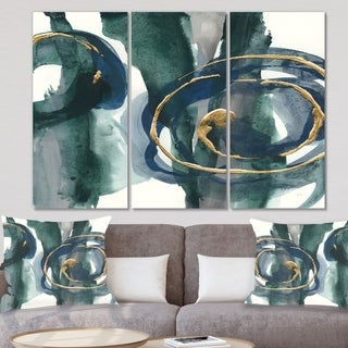 Designart 'Mettalic Indigo and Gold III' Posh & Luxe Canvas Artwork