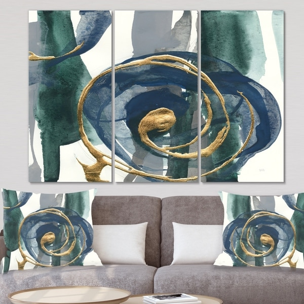 Designart 'Mettalic Indigo and Gold I' Posh & Luxe Canvas Art