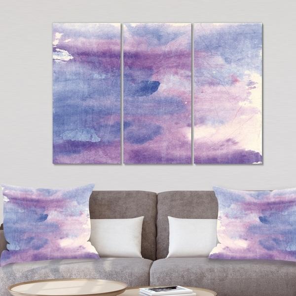 Designart 'Watercolor Purple Haze II' Modern Canvas Artwork