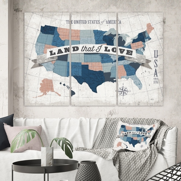 Designart 'American Map Watercolor' Map Canvas Art