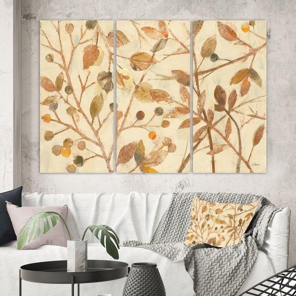 Designart 'Copper Branches Composition' Lake House Canvas Wall Art