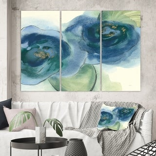 Designart 'Blue Floral Poppies III' Cottage Gallery-wrapped Canvas