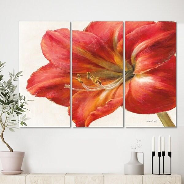 Porch & Den Vivid Red Amaryllis' 3-panel Canvas Artwork
