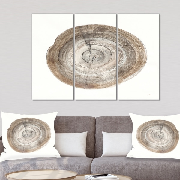Designart 'Circle natural elements I' Farmhouse Gallery-wrapped Canvas