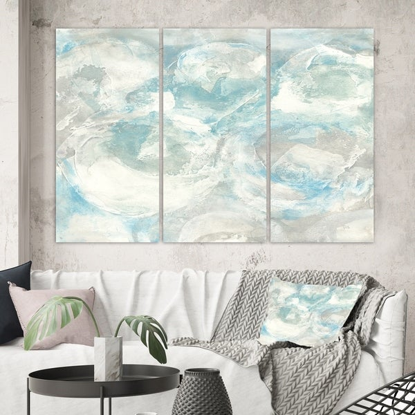 Designart 'Pale Blue Shade III' Modern Farmhouse Canvas Artwork