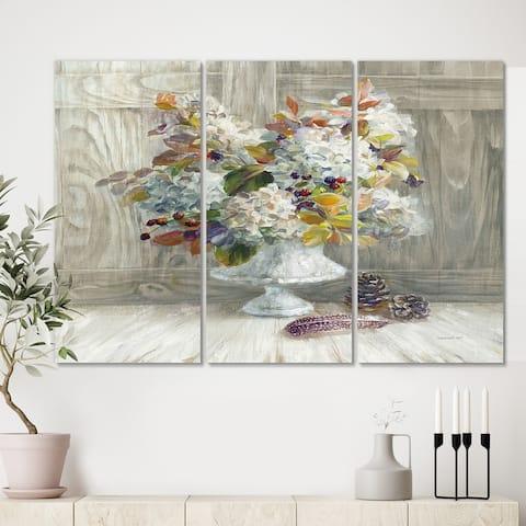 Designart 'Rustic Florals White' Cabin & Lodge Canvas Wall Art