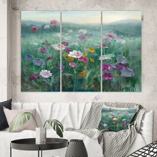 Designart 'Flower field' Floral Farmhouse Canvas Wall Art