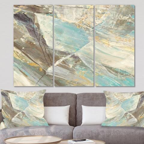 Designart 'Blue Geometric Water' Modern Canvas Wall Art