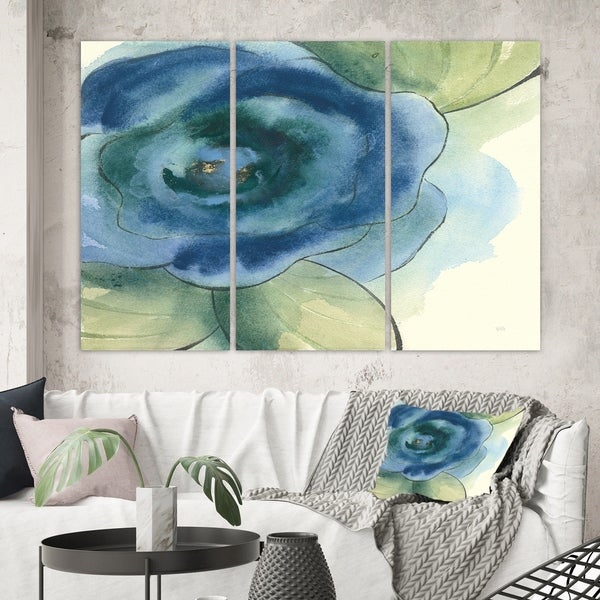 Designart 'Blue Floral Poppies IV' Cottage Canvas Artwork