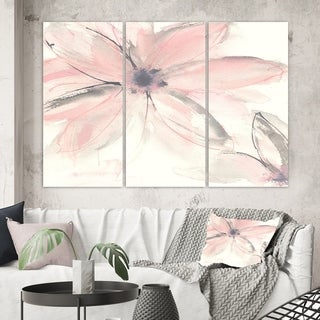 Designart 'Pink Shabby Floral II' Shabby Chic Canvas Artwork