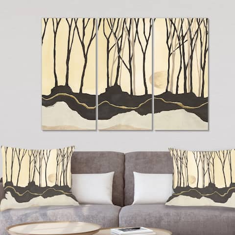 Designart 'Geometric Forest' Farmhouse Canvas Wall Art