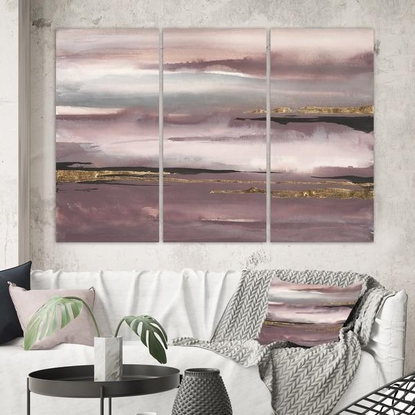 Designart 'Purple Glam Storm IV' Glam & Shabby Chic Gallery-wrapped Canvas