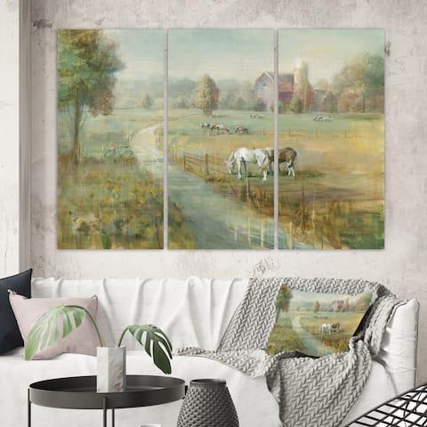 Designart 'Tranquil Country Field' Farmhouse Canvas Artwork