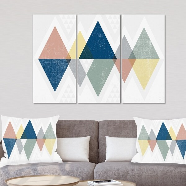 Designart 'Geometrical Composition Triangles III' Modern & Transitional Gallery-wrapped Canvas