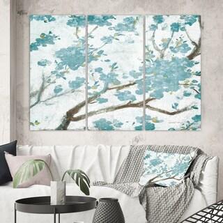 Designart 'Teal Cherry Blossoms I' Traditional Floral Canvas Artwork