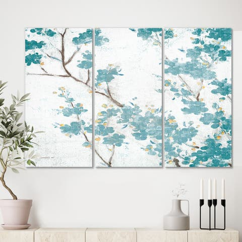 Designart 'Teal Cherry Blossoms II' Traditional Floral Canvas Art