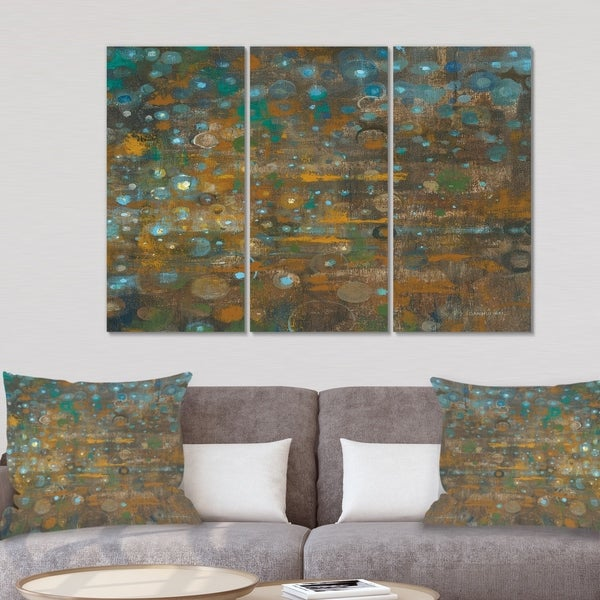 Designart 'Blue and Bronze Dots on Glass IV' Cabin & Lodge Gallery-wrapped Canvas