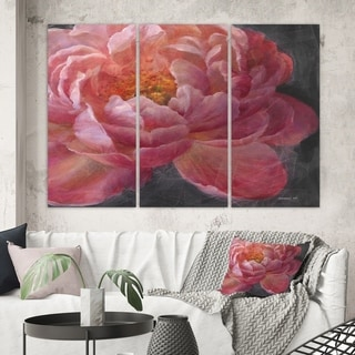 Designart 'Vivid Pink Peonies I' Shabby Chic Gallery-wrapped Canvas