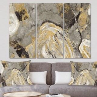 Designart 'Painted Gold Stone' Cabin & Lodge Canvas Art