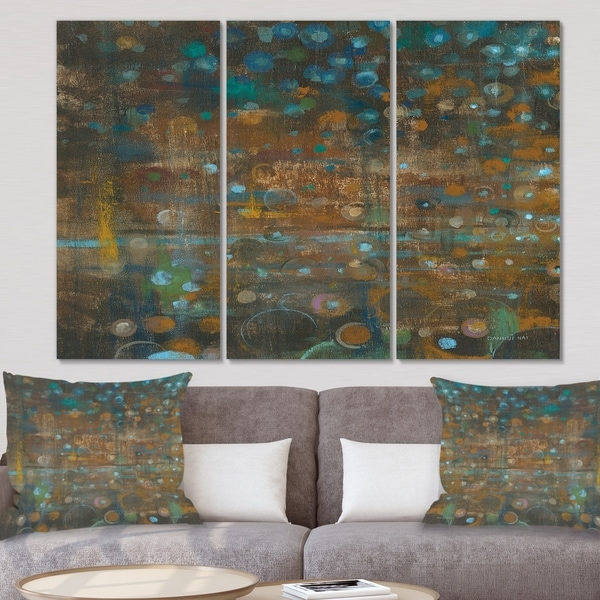 Designart 'Blue and Bronze Dots on Glass III' Cabin & Lodge Canvas Wall Art