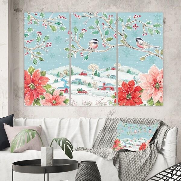 Designart 'Country Flower snowflakes II' Farmhouse Canvas Art