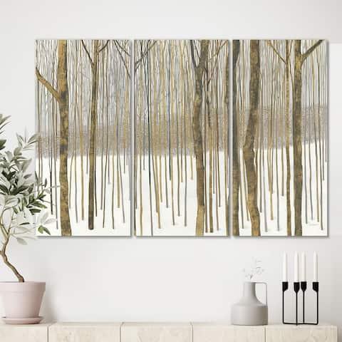 Designart 'Forest in Winter Gold' Cabin & Lodge Canvas Art