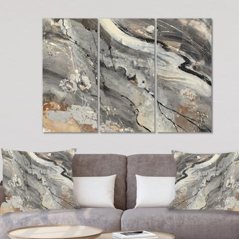 Designart 'Fire and Ice Minerals II' Farmhouse Canvas Artwork