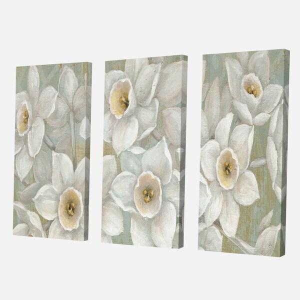 Designart 'Pure Pastel White flowers' Farmhouse Canvas Art
