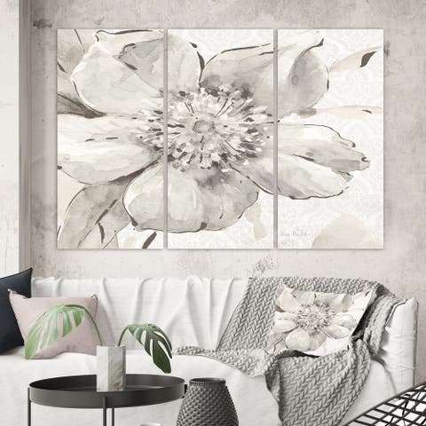 Designart 'Indigold Grey Peonies III' Farmhouse Canvas Artwork