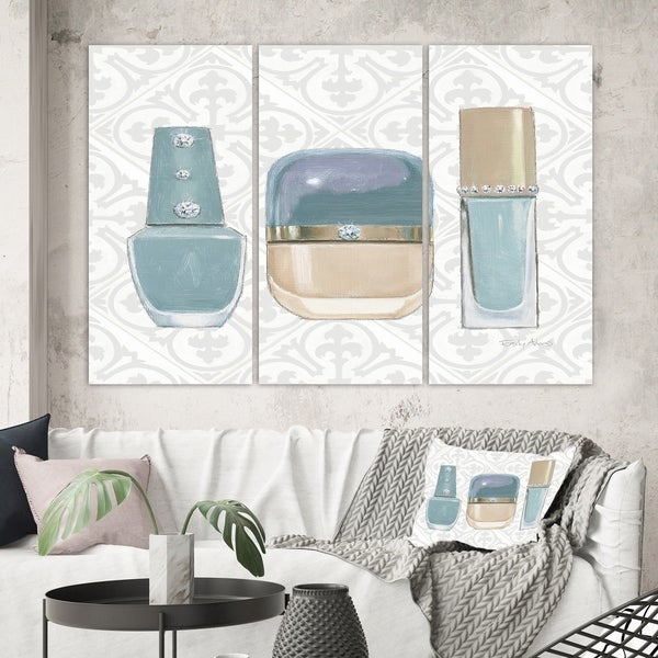 Designart 'Glam cosmetics Blue accessories' Posh & Luxe Gallery-wrapped Canvas