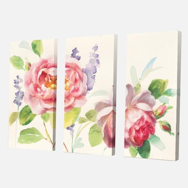 Designart 'Watercolor Roses Bouqet' Shabby Chic Canvas Artwork