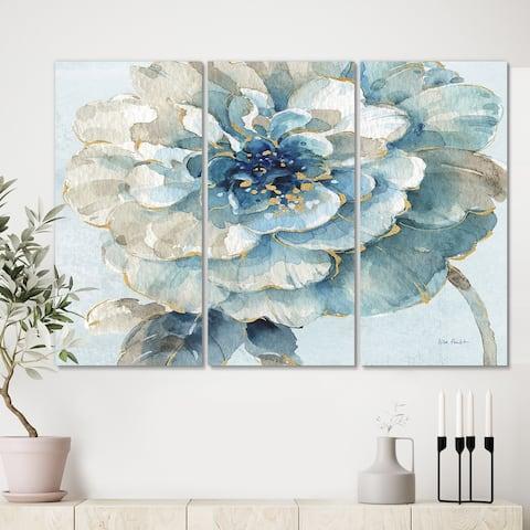 Designart 'Indigold Watercolor Flower II' Farmhouse Canvas Artwork