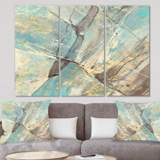 Designart 'Mineral Landscape in Blue, Cream and Brown' Nautical & Coastal Gallery-wrapped Canvas