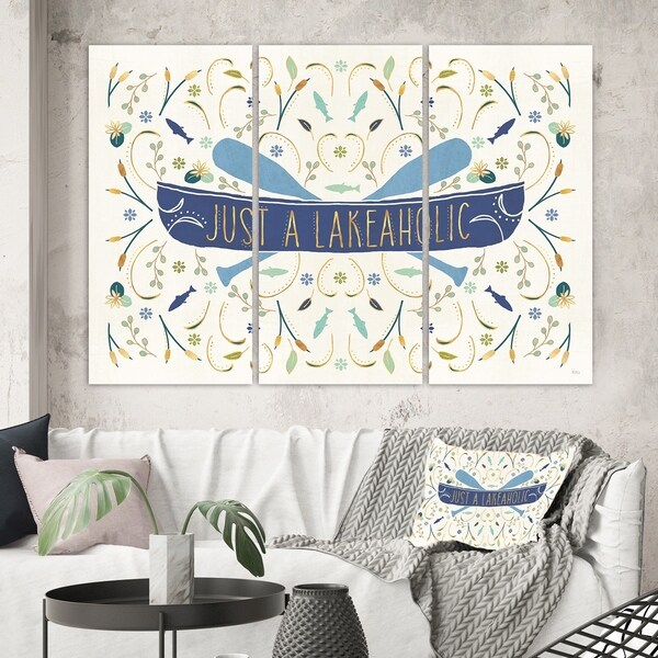 Designart 'Just a Lakeaholic ' Lake House Canvas Art