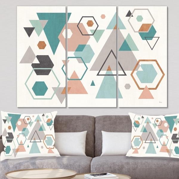 Designart 'Geometric hexagons Pattern VI' Transitional Canvas Wall Art