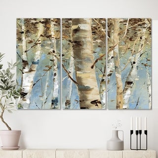 Designart 'White Birch Forest II' Modern Farmhouse Canvas Wall Art