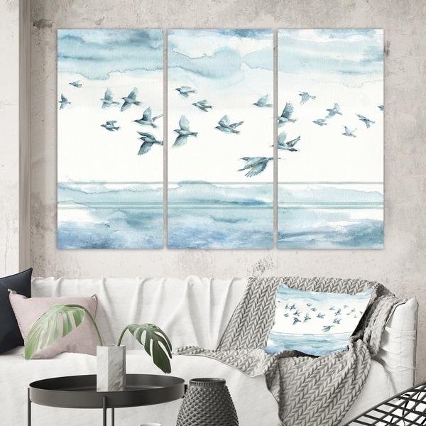 Designart 'Indigold Bird Cottage Family VII' Animals Canvas Wall Art